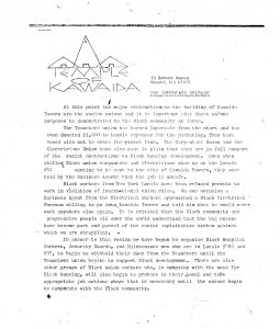 Press release issued by Amiri Baraka's Temple of Kawaida on March 9, 1973 criticizing labor union opposition to the construction of Kawaida Towers. Kawaida Towers, a high-rise housing project that Baraka planned to build in Newark's predominantly white North Ward, was met by fierce opposition from white residents and politicians. -- Credit: The Black Power Movement, Pt. 1 (microfilm)
