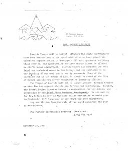 Press release issued by Amiri Baraka's Temple of Kawaida on November 27, 1972 criticizing the lack of police protection for the construction of Kawaida Towers. Kawaida Towers, a high-rise housing project that Baraka planned to build in Newark's predominantly white North Ward, was met by fierce opposition from white residents and politicians. -- Credit: The Black Power Movement, Pt. 1 (microfilm)