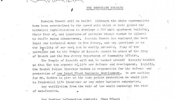 Thumbnail- Temple of Kawaida Press Release (Nov 27, 1972)