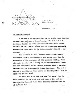 Press release issued by Amiri Baraka's Temple of Kawaida on November 8, 1972 describing the need and plans for Kawaida Towers. Kawaida Towers was a high-rise housing project that Baraka planned to build in Newark's predominantly white North Ward. -- Credit: The Black Power Movement, Pt. 1 (microfilm)