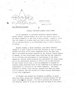 Press release issued by Amiri Baraka's Temple of Kawaida on March 9, 1973 criticizing Daniel Tindall for his statements about Kawaida Towers. Tindall had wrongfully criticized Kawaida Towers, a high-rise housing project that Baraka planned to build in Newark's predominantly white North Ward, for not having a Black architect design the building. Majenzi Kuumba, a Black architect, worked on the design of the project. -- Credit: The Black Power Movement, Pt. 1 (microfilm)