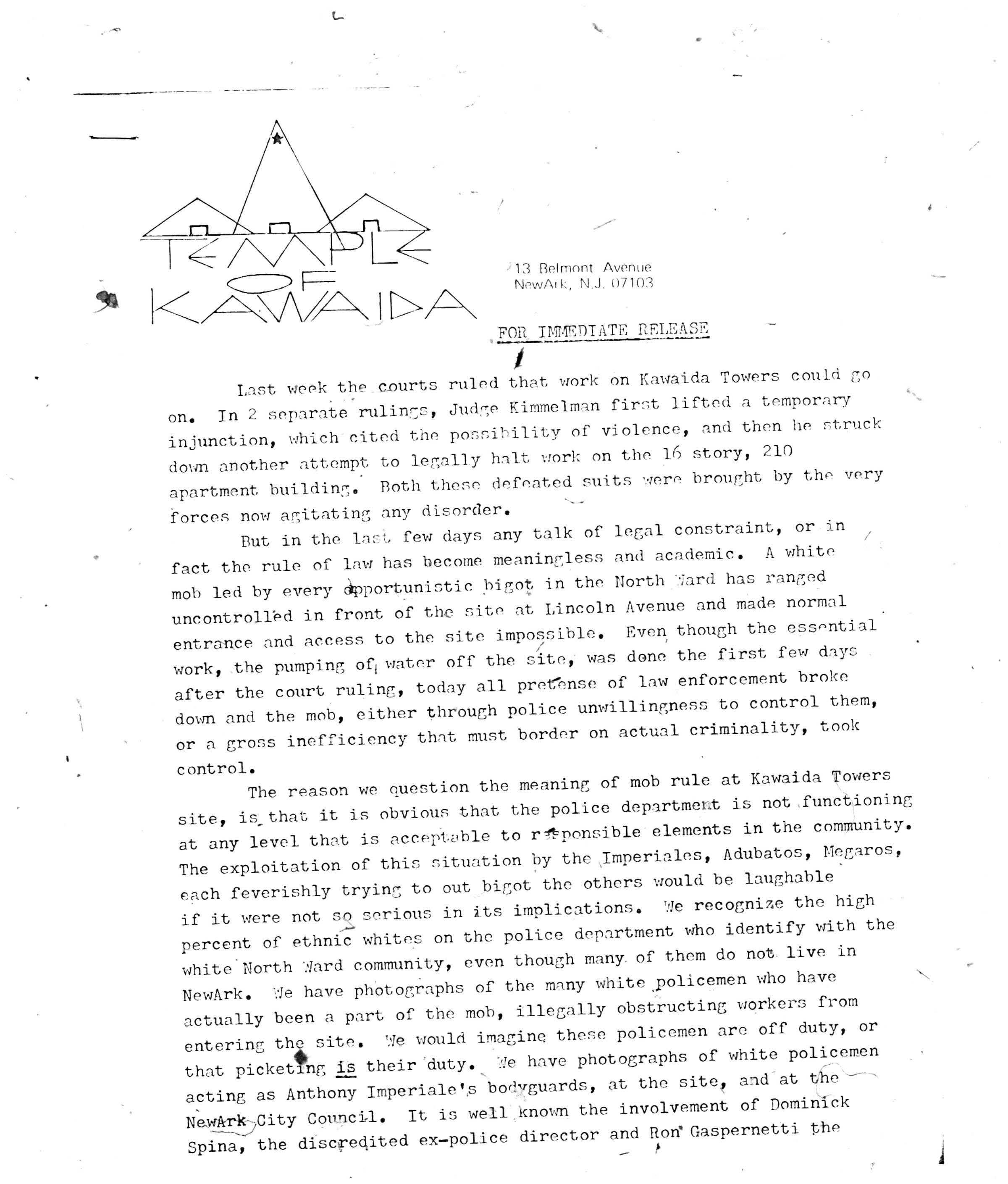 Temple of Kawaida Press Release from Amiri Baraka (Nov 27, 1972)