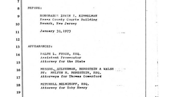 thumbnail of Transcript of Court Proceedings Against Toby Henry and Tom Comerford (Jan 31, 1973)