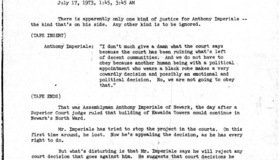 thumbnail of WCBS Radio Transcript of Interview with Anthony Imperiale (July 1973)