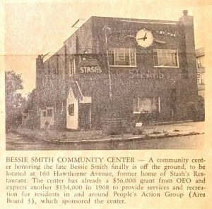 Photograph from the newspaper of the United Community Corporation, The Crusader, showing the location of the newly established Bessie Smith Community Center at 160 Hawthorne Ave. -- Credit: Newark Public Library