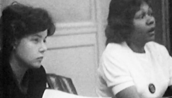Carol Glassman and Bessie Smith at Area Board Meeting (1965) copy