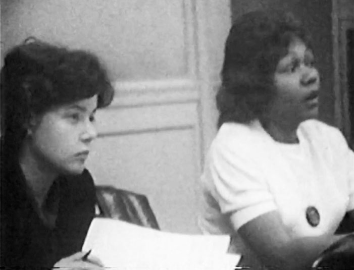 Newark Community Union Project (NCUP) members Carol Glassman (left) and Bessie Smith (right) preside over a meeting of the United Community Corporation's Area Board #3 in 1965. --Credit: Robert Machover