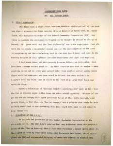 """Conference paper prepared by Bessie Smith regarding """"maximum feasible participation"""" of the poor in War on Poverty efforts in Newark. In the paper, Mrs. Smith describes the struggles for community control of the United Community Corporation, Newark's Community Action Agency for War on Poverty funding. -- Credit: Newark Public Library"""