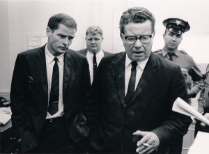 "New Jersey Governor Richard Hughes (right) speaks with a reporter after touring the ""riot area"" of Newark's Central Ward on July 14, 1967. Hughes was called into the city by Mayor Hugh Addonizio after violence broke out for the second straight night. Earlier that morning Hughes called in the State Police and National Guard to quell the rebellion. --Credit: The Star-Ledger"