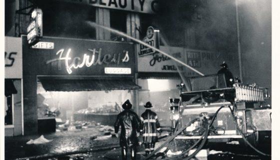 Newark Firemen Put Out A Fire on Broad Street