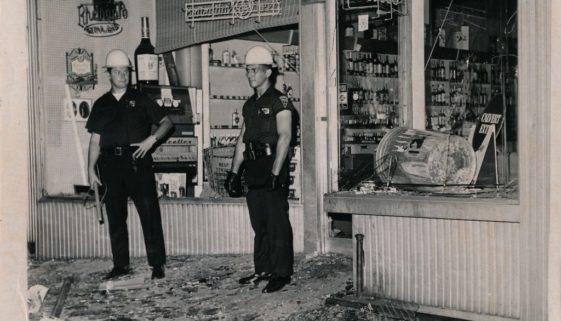 Newark Police Guard a Looted Liquor Store
