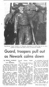 Article from the Star-Ledger, covering the removal of National Guardsmen and State Police from Newark following the rebellion in the city. The previous night, civil rights activists Robert Curvin and Tom Hayden had urged Governor Richard Hughes to withdraw the troops and police, who had engaged in a campaign of retaliation against Newark's Black residents. --Credit: The Star-Ledger