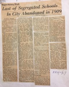 Article from the Newark Evening News detailing the history of segregated schools in the city. The Commerce Street Colored School, the last of Newark's segregated schools, was disbanded in 1909. -- Credit: Newark Public Library