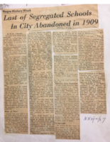 Last of Segregated Schools in City Abandoned in 1909 (Newark Evening News- Feb 12, 1967