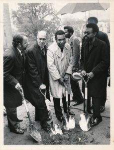 (L-R) Alvin Gershen, Raymond Brown, Ken Gibson, and Amiri Baraka at the groundbreaking ceremony for Kawaida Towers on October 12, 1972. --Credit: Dwight J. Johnson/The Star-Ledger
