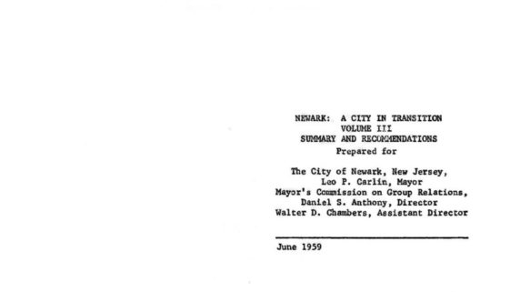 thumbnail of Newark- A City in Transition (Volume 3- Summary and Recommendations)
