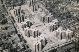 Aerial View of Construction of Hayes Homes Project, 1954