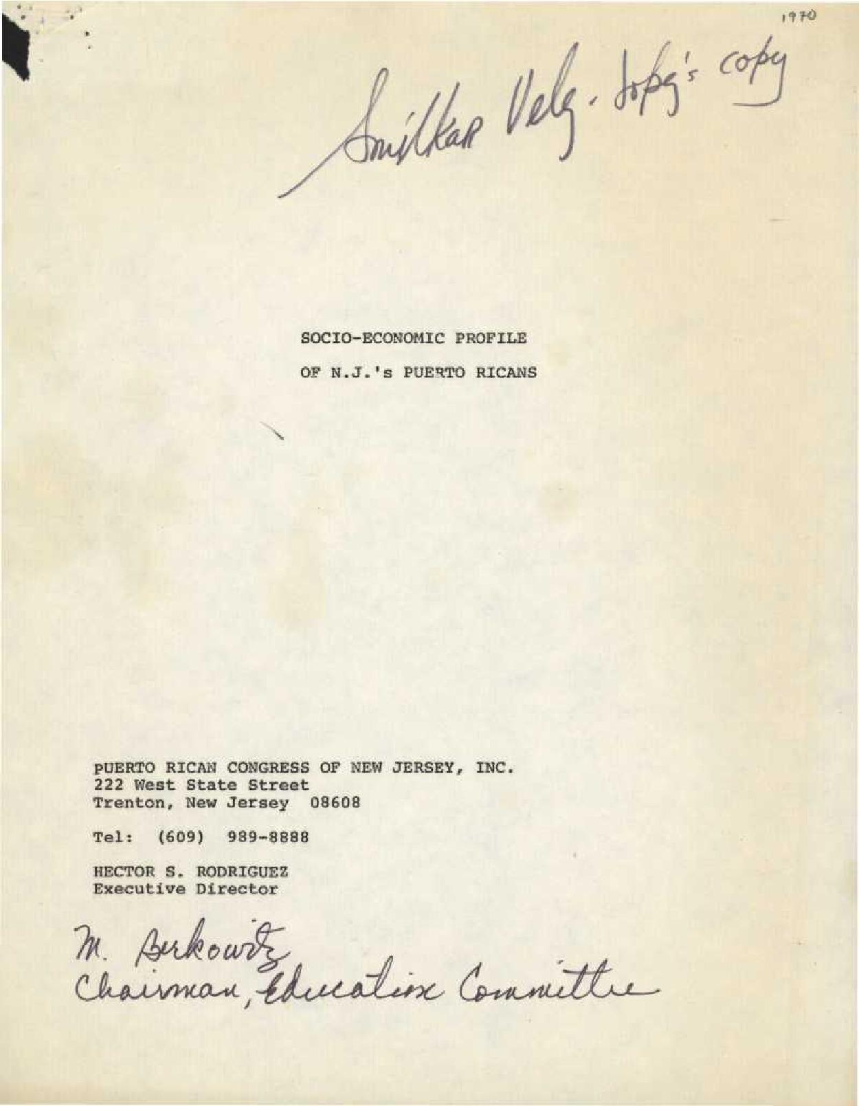 Socio-Economic Profile of NJ's Puerto Ricans (1972)