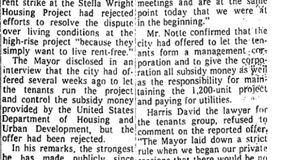 Stella Wright Motives of Rent Strikers Are Deplored by Gibson