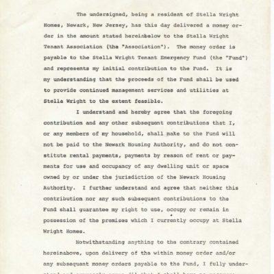 Stella Wright Tenant Association Agreements