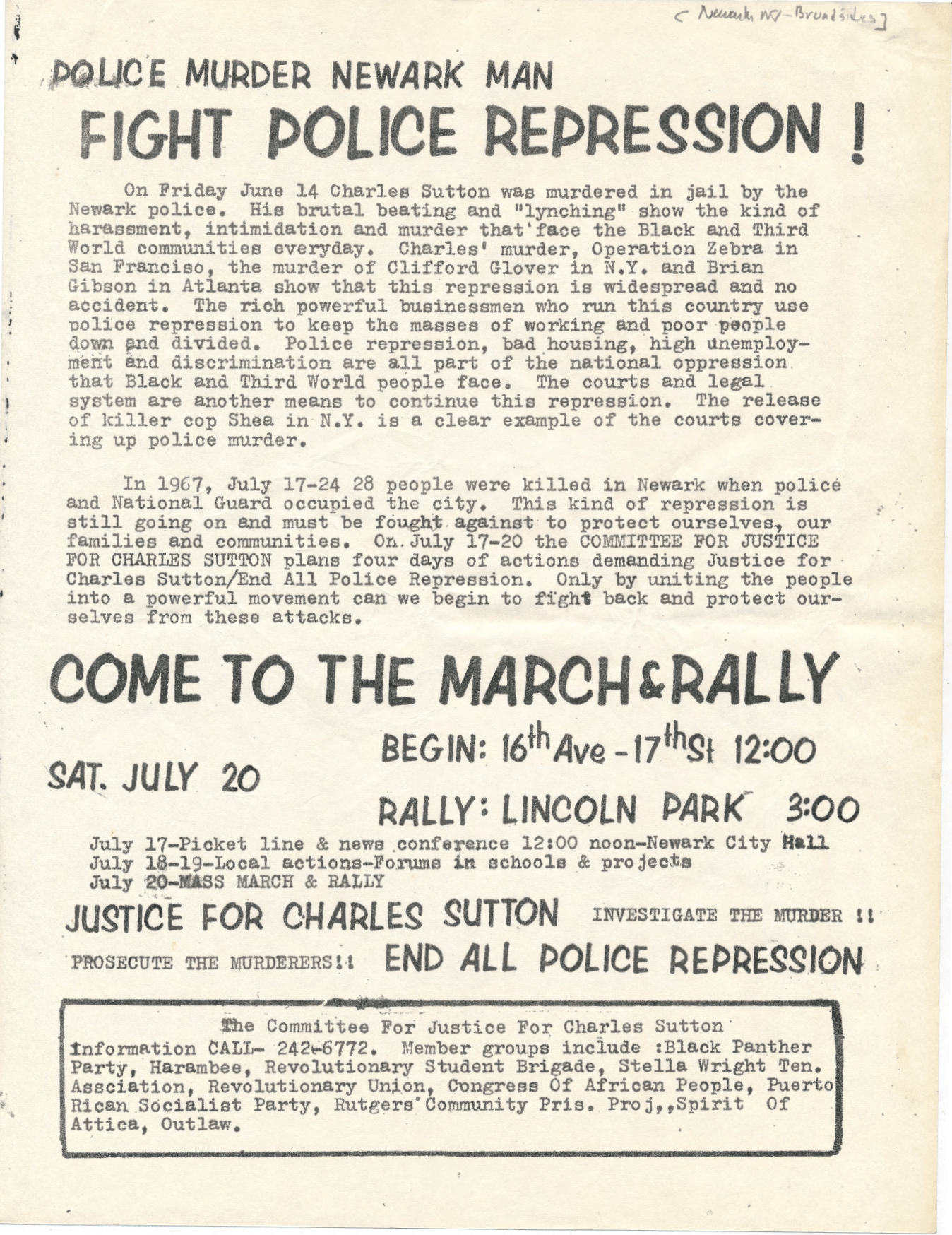 Flyer for Charles Sutton Rally (1974)