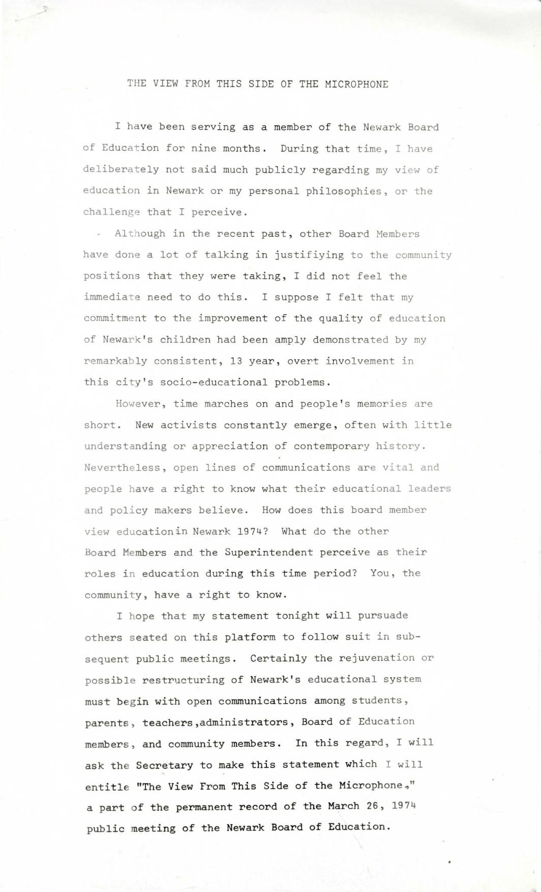 Fred Means BOE Speech (1974)