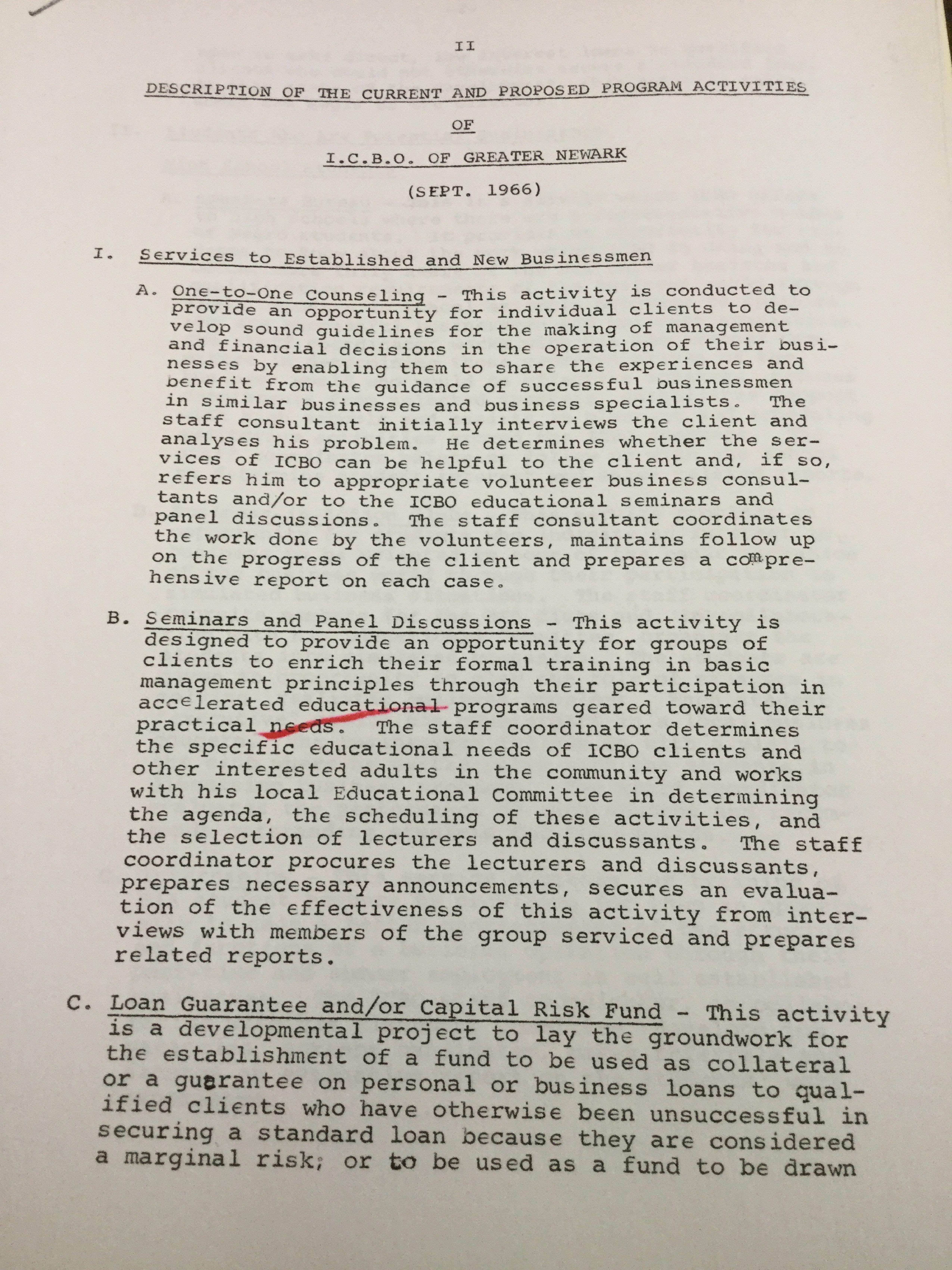 ICBO Proposed Program Activities (1966)