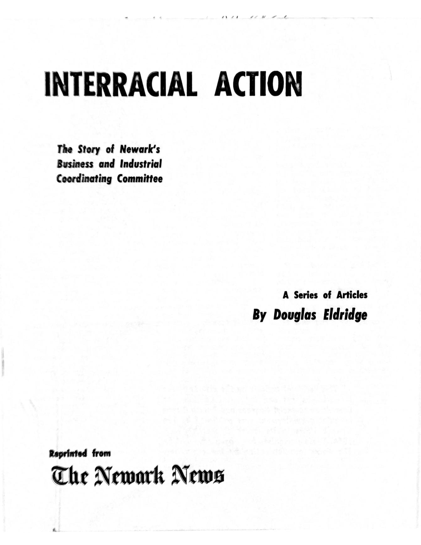 Interracial Action- The Story of Newark's BICC, by Douglas Eldridge