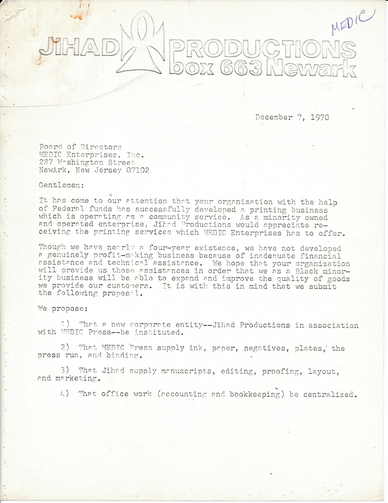 Letter from Jihad Productions to MEDIC Press (1970)