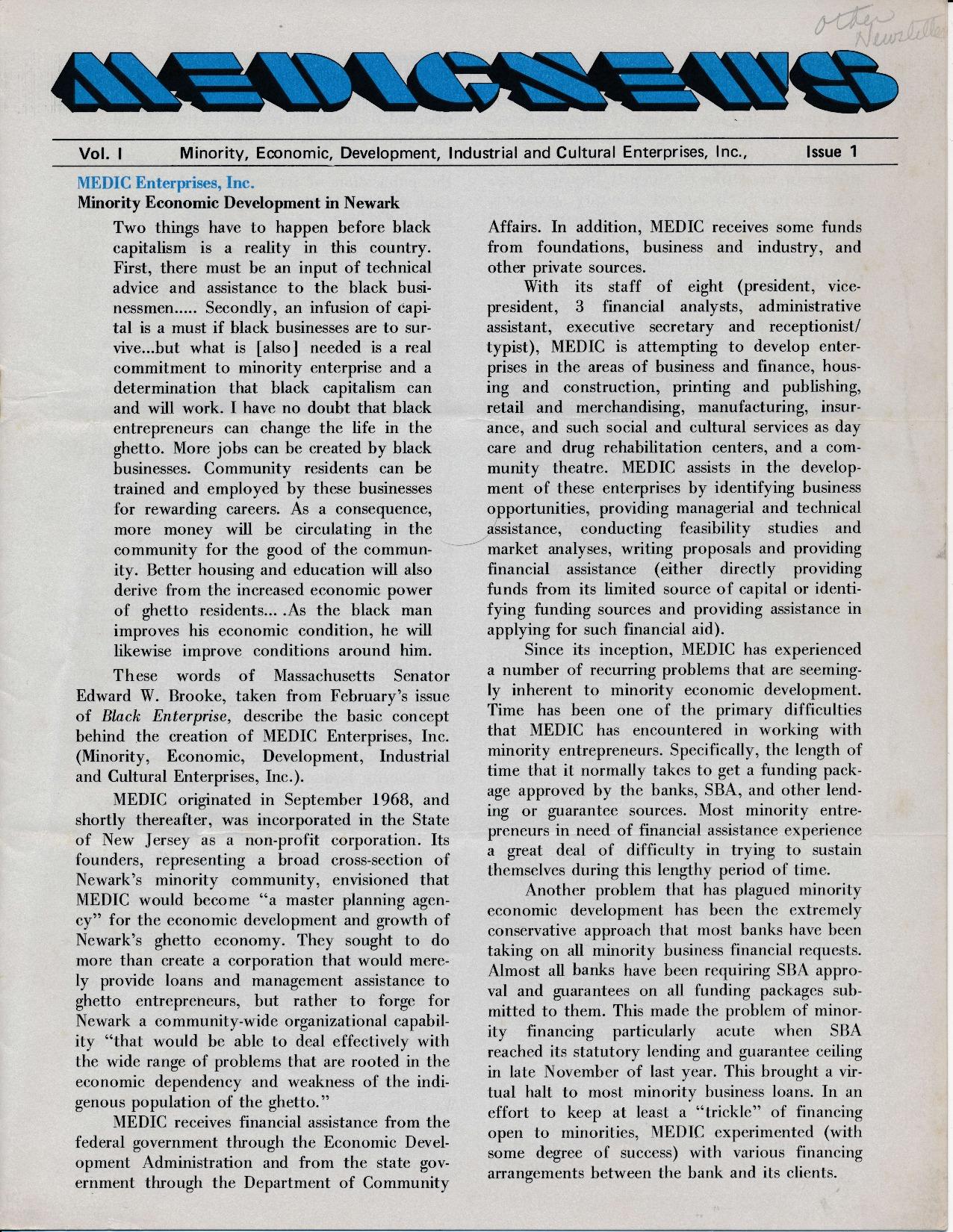 MEDIC Newsletter (1971)