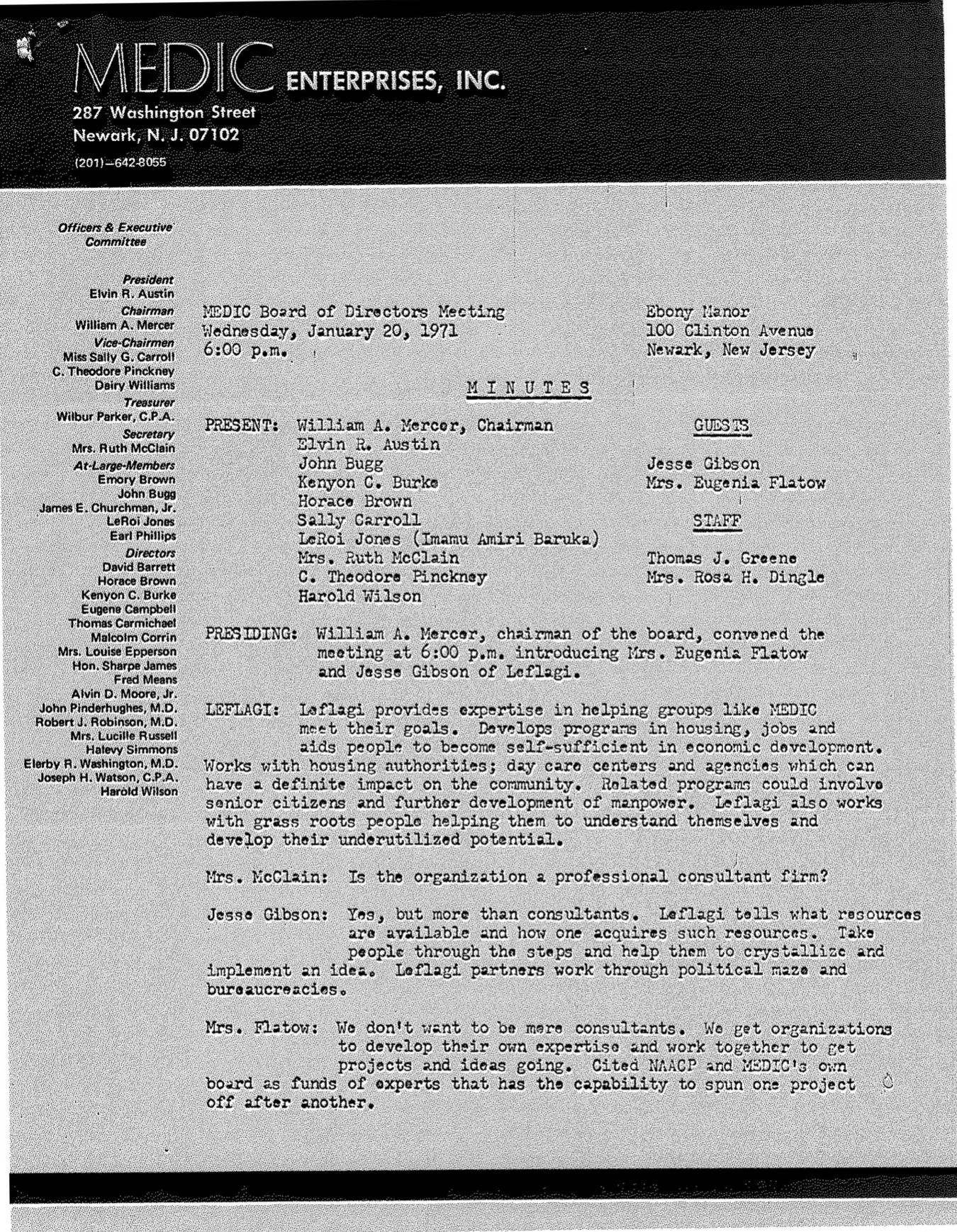 MEDIC Board Meeting Minutes (January 1971)