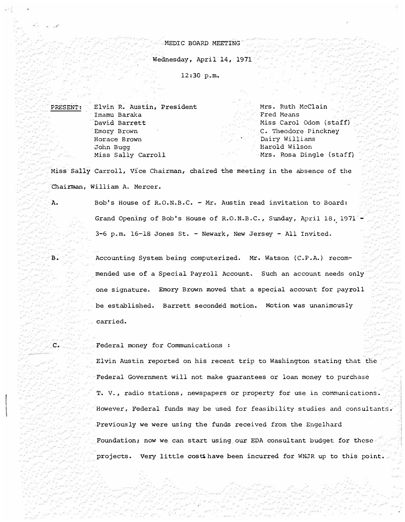 MEDIC Board Meeting Minutes (April 1971)
