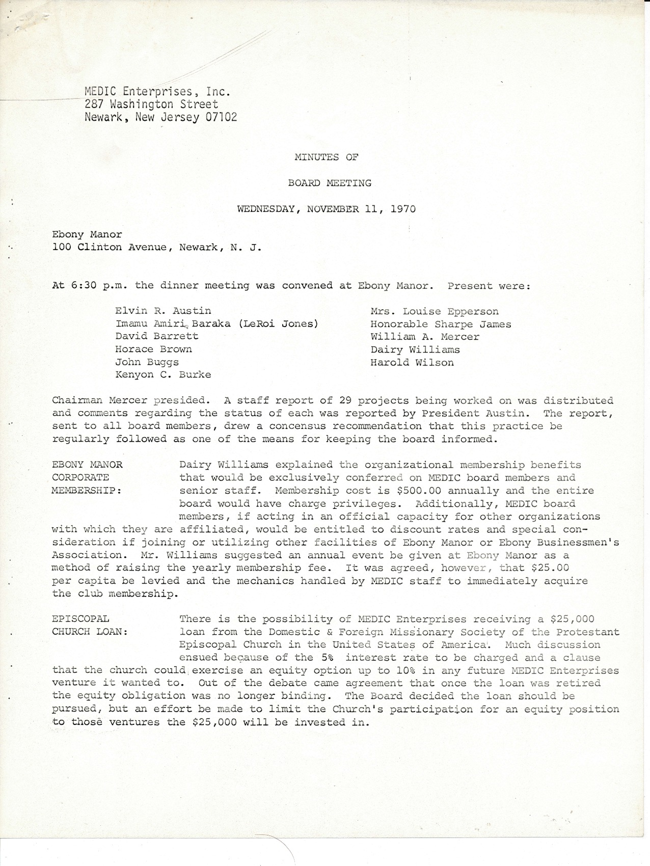 MEDIC Board Meeting Minutes (November 1970)