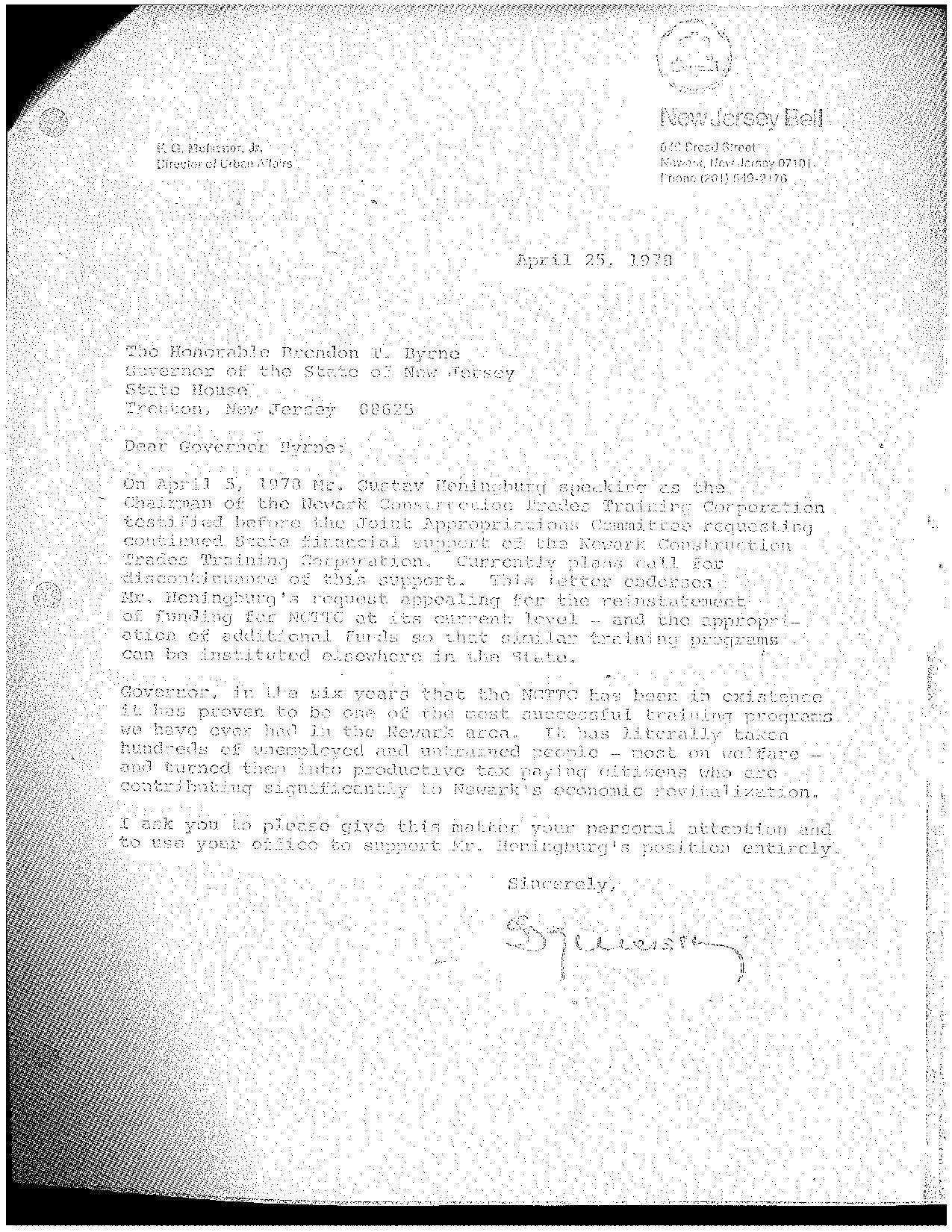 NJ Bell Letter to Gov. Byrne (1978)
