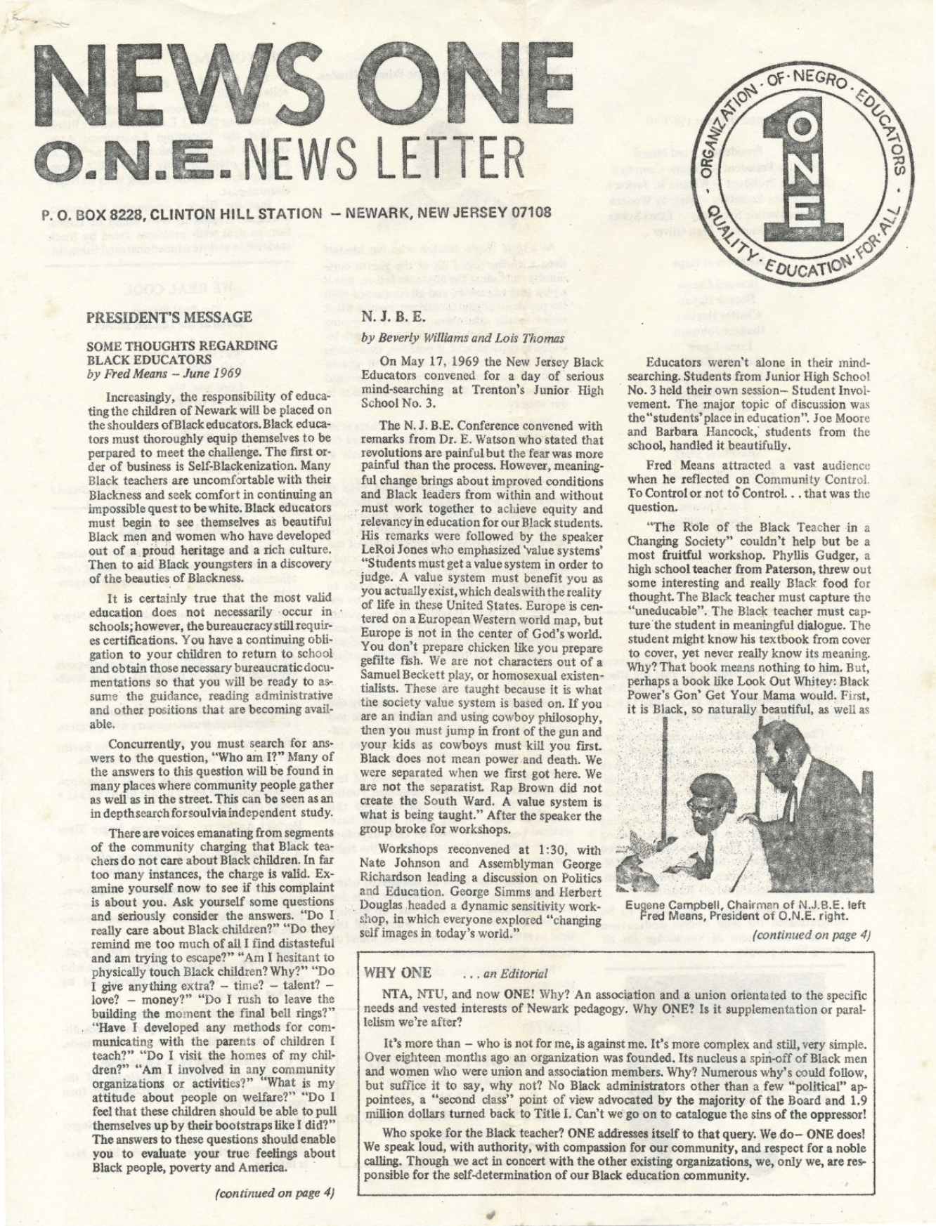 Organization of Negro Educators Newsletter (June 1969)