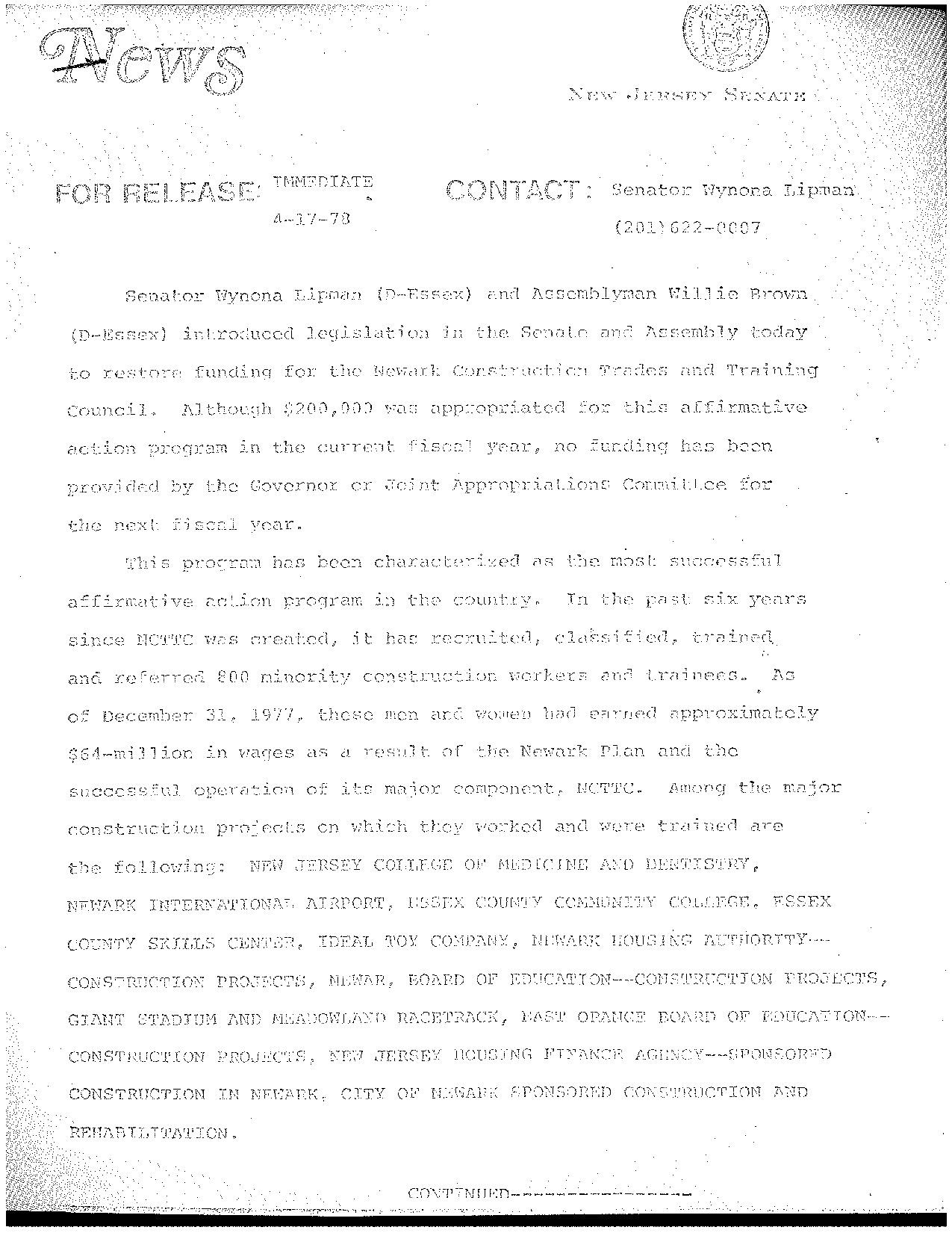 State Senate Press Release (1978)
