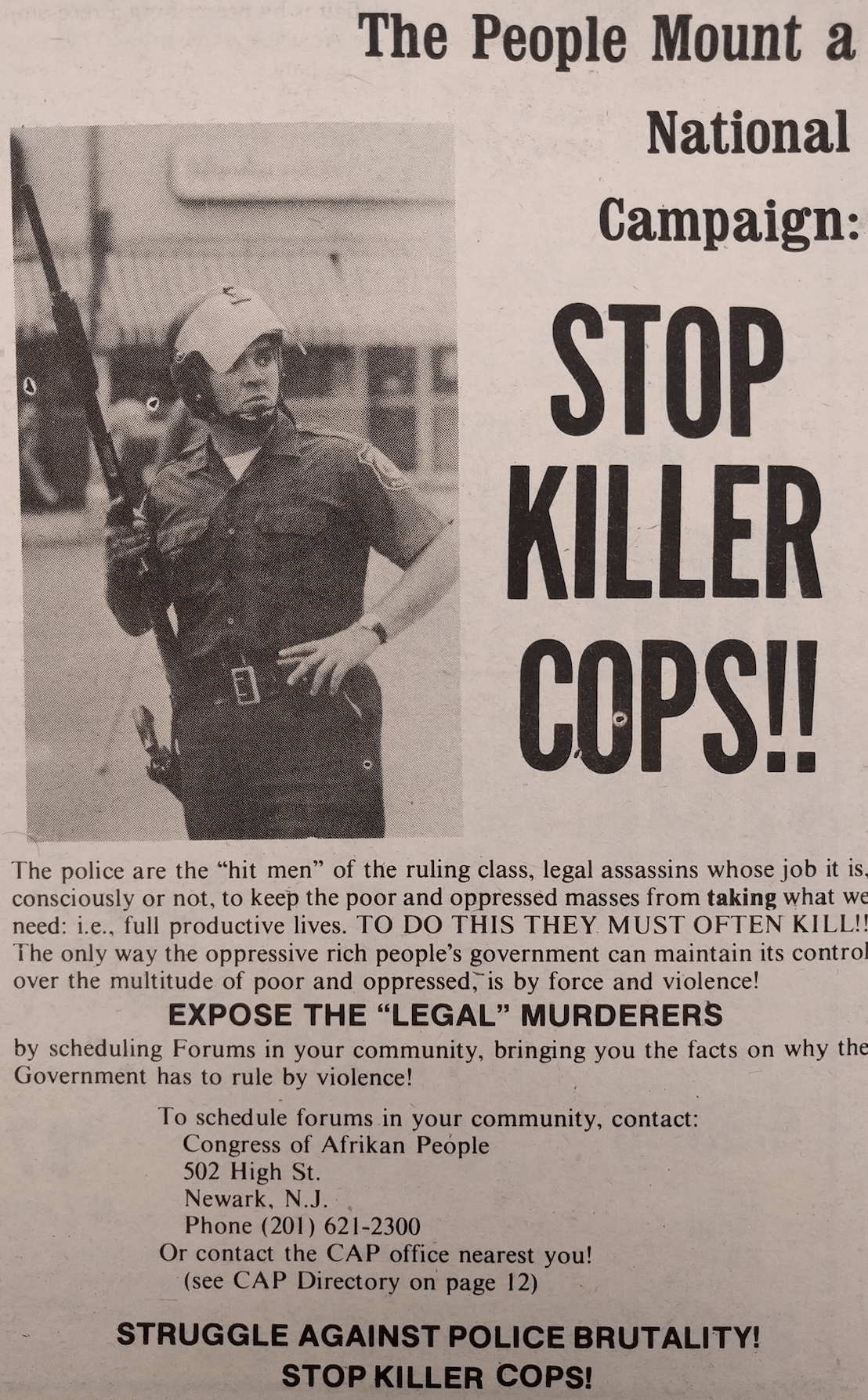 Stop Killer Cops Ad (1974)
