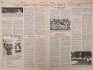 Stop Killer Cops Campaign Centerfold (Unity and Struggle, Feb 1975)-min