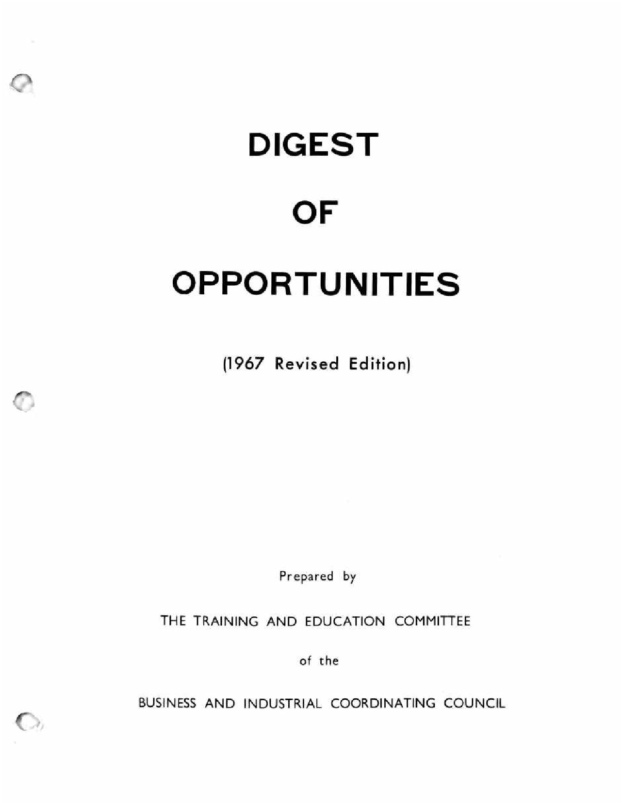 BICC Digest of Opportunities (1967)
