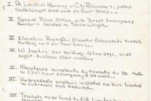 The Stella Wright Tenant Association Partial Demands List (1970)