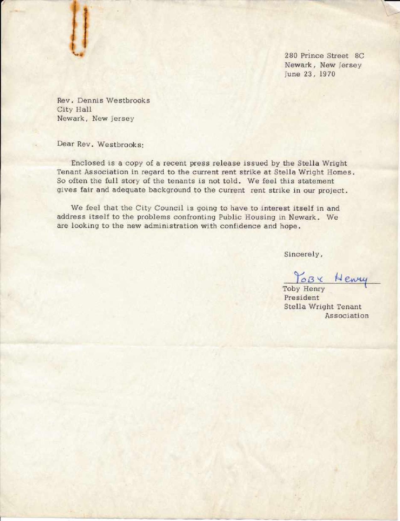 Stella Wright Tenant Association Press Release (1970)